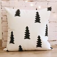 北欧几何抱枕 客厅双面沙发靠垫套靠背 汽车办公室椅子腰枕 白色 北欧 树形