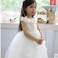 蕾丝刺绣裙摆花边女童裙吊带裙蓬蓬裙精致盘花设计圆领儿童婚纱礼服花童公主裙