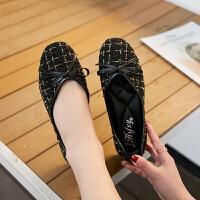 韩版蝴蝶结平底平跟单鞋春季浅口豆豆鞋特大号41 特大码女鞋