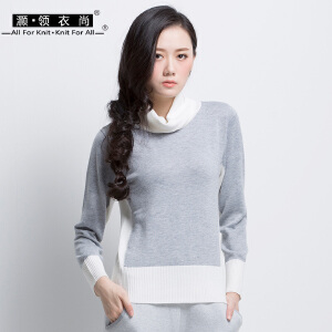 秋冬新款拼色高领毛衣修身薄针织衫女套头长袖堆堆领羊毛衫