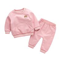 女童春秋2018新款套装 周岁宝宝春装男 新生儿运动两件套小孩衣服