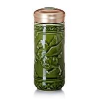 乾唐轩活瓷杯正品飞黄腾达随身杯双层创意陶瓷隔热保温水杯商务礼品礼物