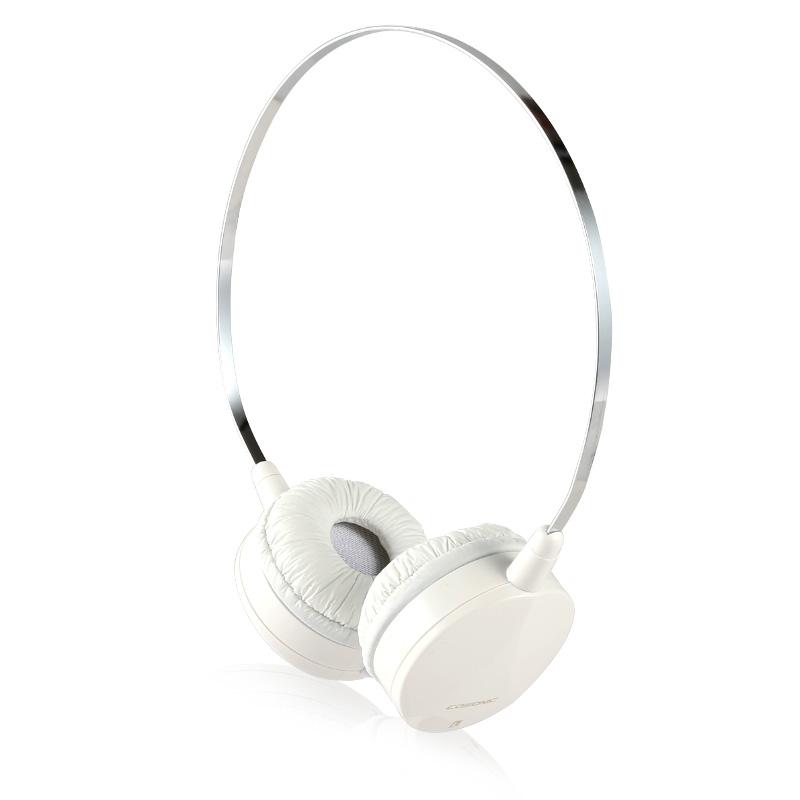 时尚便携线控头戴式耳机 多彩配色 清晰通透 立体声运动防汗耳机带麦 白色智能兼容 佩戴舒适