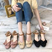 粗跟包头凉鞋女2019新款夏季学生韩版百搭中跟仙女风chic女士鞋子