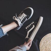 新款黑色帆布鞋女学生韩版百搭平底小黑布鞋ins港风板鞋欧美