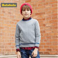 巴拉巴拉童装男童儿童毛衣中大童秋装2017新款纯棉套头长袖针织衫