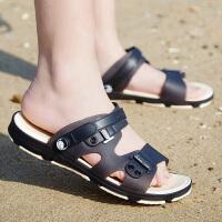 新款男士凉鞋防滑一字拖鞋男潮流韩版室内外两用凉拖鞋洞洞沙滩鞋
