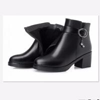 短靴女粗跟冬加绒加厚中年皮鞋女靴子保暖中跟妈妈棉鞋