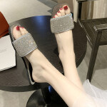 拖鞋女外穿夏季平底亮片时尚一字拖女百搭凉拖鞋女2019新款拖鞋女