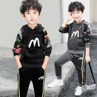 童装男童冬装套装儿童秋冬季运动男孩金丝绒两件潮衣