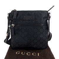 Gucci黑色丝光棉GG印花男士小号单肩包 449183