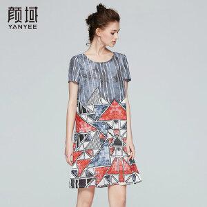 颜域品牌女装2017夏季新款大码圆领宽松条纹几何短袖连衣裙子女夏