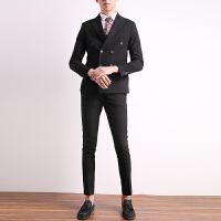 双排扣西装男套装修身韩版帅气男士休闲小西服外套新郎结婚礼服男 黑色 9929