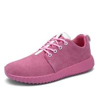 领舞者时尚运动鞋 休闲潮流旅游鞋女生反绒皮纯色休闲鞋