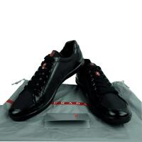 Prada普拉达男士黑色布皮拼接系带休闲鞋 4E2439 黑色 44