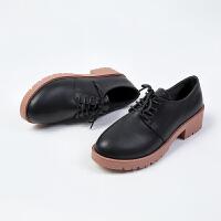 小皮鞋女英伦复古学院风工作鞋粗跟单鞋圆头系带学生厚底女鞋高跟百搭