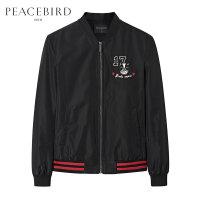 太平鸟男装 男士刺绣黑色外套棒球领夹克青年茄克衫棒球服衣服潮