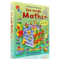 进口英文原版绘本 Usborne See inside Maths 大开纸板翻翻书 看里面系列之 解密数学 儿童科普百