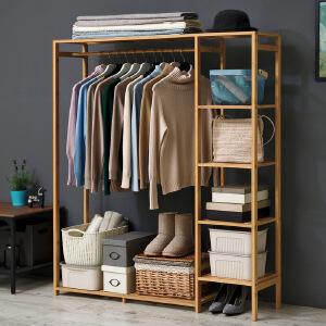 衣帽架 木质柜式简易落地置物架现代简约时尚衣服架客厅卧室挂衣架一架多用多功能收纳架