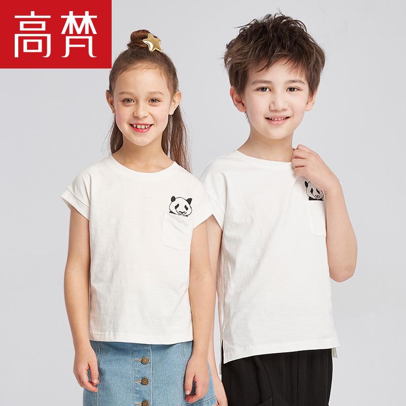 高梵2018 新款儿童t恤女童简约棉质t恤女短袖圆领夏宽松印花半袖夏