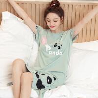 甜梦莱睡衣女夏季纯棉短袖睡裙熊猫薄款可爱春秋韩版清新学生大码家居服