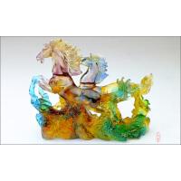 办公室摆件现代琉璃马桌面创意装饰品店铺公司商务开业礼品 高档