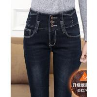 高腰裤子牛仔裤女 加绒加厚小脚裤 大码保暖铅笔裤弹力裤长裤