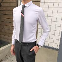 发型师白衬衫男长袖修身韩版潮流帅气百搭男士商务休闲纯色衬衣薄 白色