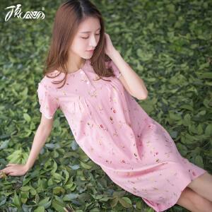 顶瓜瓜睡衣女纯棉 甜美清新印花棉质睡裙夏季