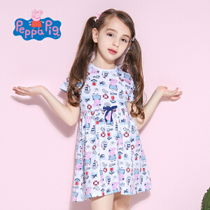 【满100减50】小猪佩奇正版童装女童夏装时尚满印小猪纯棉短袖连衣裙舒适透气