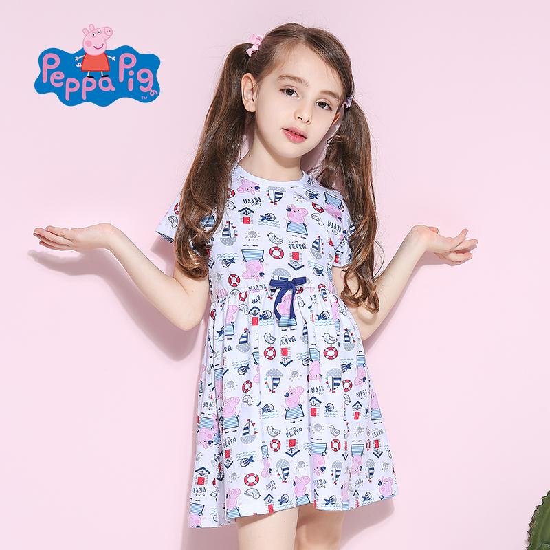 [2件6折]小猪佩奇正版童装女童夏装时尚满印小猪纯棉短袖连衣裙舒适透气