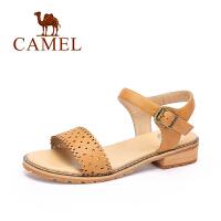 【每满200减100】camel骆驼女鞋  春夏新品 时尚简约方跟女凉鞋休闲舒适镂空凉鞋