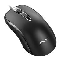 飞利浦有线鼠标静音USB家用无声办公台式笔记本电脑商务电竞游戏kb6