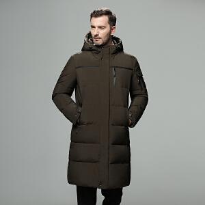 吉普盾秋冬新款连帽羽绒服男爸爸装长款过膝加厚中老年白鸭绒户外保暖防寒服冬装外套