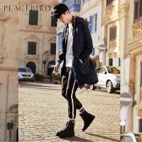 太平鸟男装 长款风衣男秋季新款韩版时尚男士个性胶印连帽外套潮