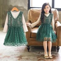 女童连衣裙秋装儿童洋气裙子秋季小女孩公主蕾丝套裙