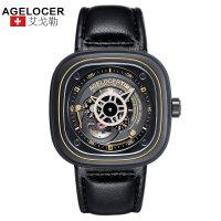 agelocer艾戈勒 瑞士进口品牌手表 男士皮带防水大表盘运动时尚潮流男表自动机械表男