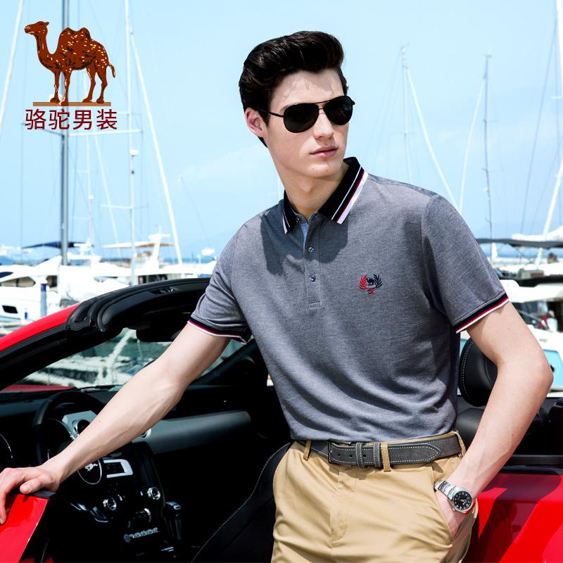 骆驼男装 夏季新款纯色翻领POLO衫男青年商务休闲短袖T恤衫