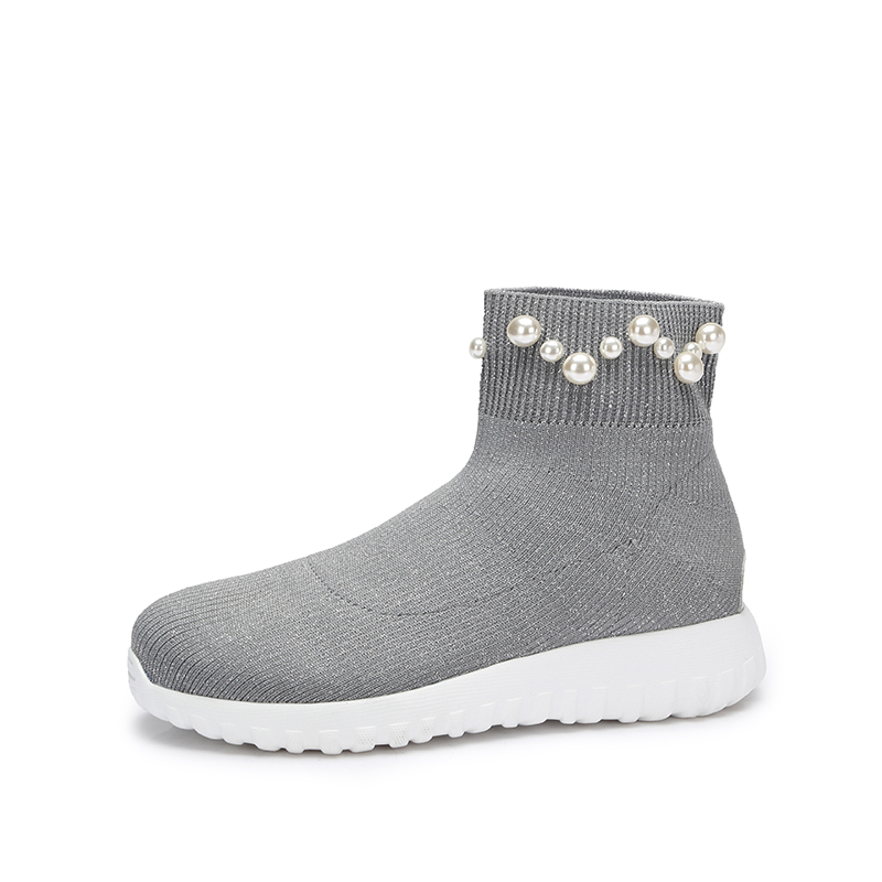 camel骆驼女鞋  秋冬新款 轻盈飞织袜子鞋女 珠饰短靴袜筒靴女靴子