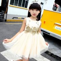 童装女童公主裙夏季儿童连衣裙蓬蓬裙背心裙钢琴表演服花童裙仙女 香槟色