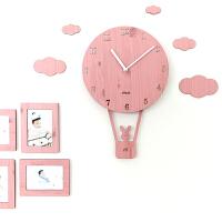 摇摆创意卡通挂钟客厅简约个性钟表儿童卧室静音家用时钟SN4980 粉红色 赠送相框 12英寸
