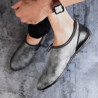 豆豆鞋男鞋夏季皮鞋懒人个性平底休闲鞋小脏鞋乐福鞋复古做旧潮鞋夏季百搭鞋
