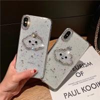 透明笑脸水钻苹果XSMAX软壳适用iPhone6splus手机壳7p保护套云朵8