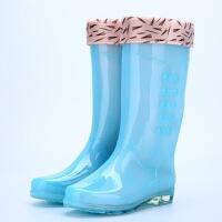 雨鞋女时尚高帮雨靴糖果高帮防水时尚透明果冻加绒女雨鞋 毛口加绒