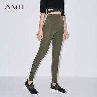 【到手价47元】 Amii极简秋装女大码橡筋小脚棉质印花运动休闲打底裤.