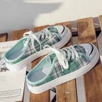 无后跟帆布鞋女半拖鞋板鞋防滑布鞋2019新款运动鞋拖鞋半托小白鞋 绿色(30)