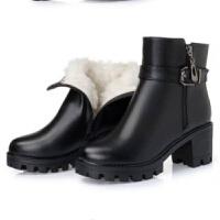短靴女粗跟2019冬季新款厚底加绒马丁靴高跟女靴加厚保暖妈妈棉靴 黑色 36