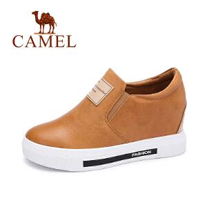 camel 骆驼女鞋  秋季新品休闲真皮单鞋 简约百搭内增高女鞋