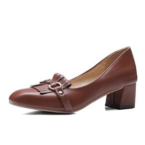 O'SHELL欧希尔夏季上新009-C-9韩版粗跟高跟女士单鞋