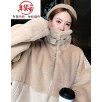 冬季新款韩版原宿风宽松加厚高领仿羊羔毛长袖保暖棉衣女外套 均码